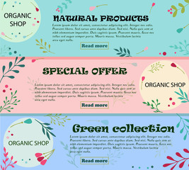 Set of banners with floral ornaments. Can be used for eco shops, natural cosmetics, vegan food