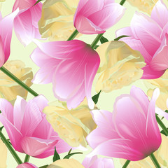 Vector seamless pattern with tulips and watercolor rose flowers. Modern floral pattern for textile, wallpaper, print, gift wrap scrapbooking decoupage, greeting or wedding background.