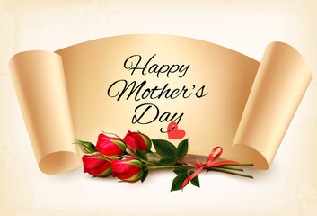 Fototapete - Red roses with a Happy Mother's Day note and red ribbon. Vector.Vector.