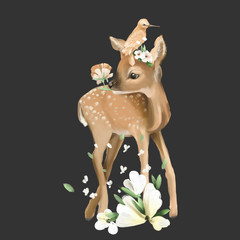 Cute deer with bird, hand painted animals, oil textured baby deer and bird with floral wreath, flowers bouquet