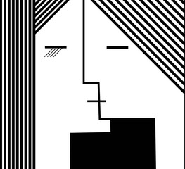 couple of people in geometric shape, kiss concept black and white,