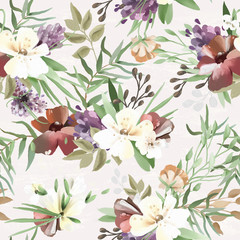Beautiful, vintage, hand painted oil textured forest, woodland wild flowers, floral seamless tileable pattern