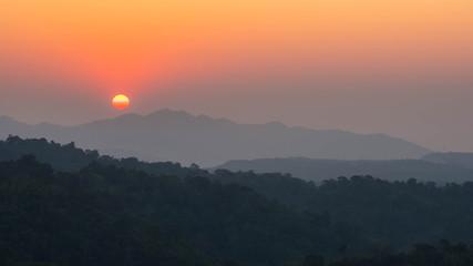beautiful sunset landscape mountain Thailand