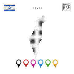 Vector Dotted Map of Israel. Simple Silhouette of Israel. The National Flag of Israel. Set of Multicolored Map Markers