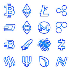 Set of cryptocurrencies icons