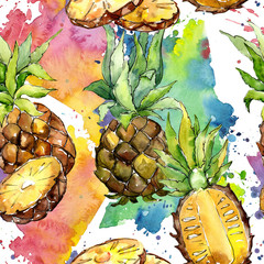 Exotic pineapple healthy food in a watercolor style pattern. Full name of the fruit: pineapple. Aquarelle wild fruit for background, texture, wrapper pattern or menu.