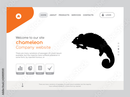 Chameleon Landing Page Website Template Design Stock Image And
