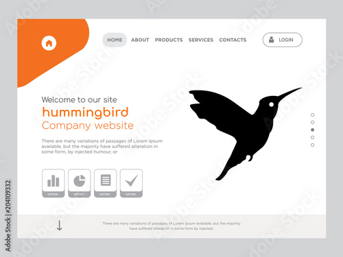 hummingbird landing page website template design stock image and