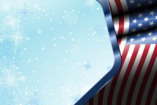 Illustration of wide holiday gradient light blue background with waving flag, snowflakes and metal frame with american flag.