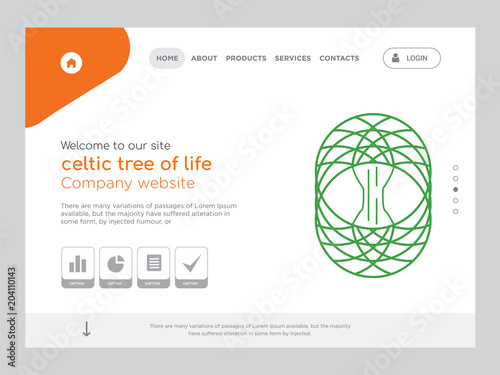 celtic tree of life landing page website template design stock