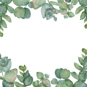 Watercolor green eucalyptus leaves bouquet