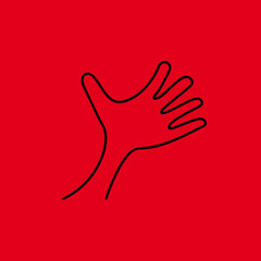 Vector sign abstract hand, in linear style