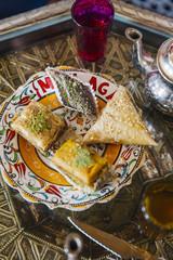 Close up view of arab food and tea