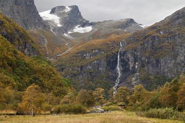 Volefossen Waterfall and the Hanekammen Peak
