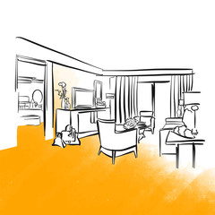 Hotel room and furniture concept drawing