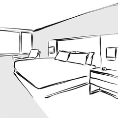 bedroom interior design concept drawing