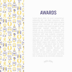 Awards concept with thin line icons: trophy, medal, cup, star, statuette, ribbon. Modern vector illustration of prizes for competition. Template for print media, banner.