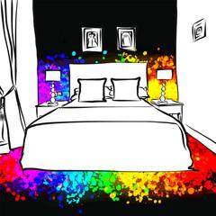 dark bedroom interior drawing concept