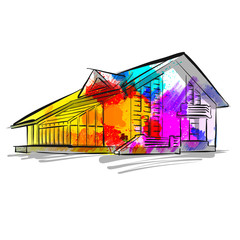 colorful house concept drawing