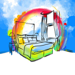 colorful bedroom hotel drawing concept