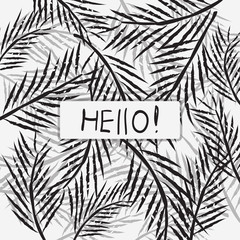 "Greeting card design with text ""Hello"" on palm leaves background"