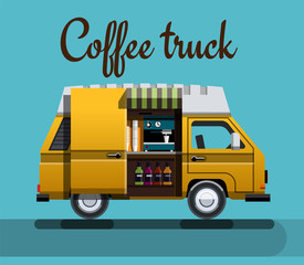 Street coffee machine in a flat style. Hot drinks on wheels. Cafe car. Coffee shop on wheels. Vector illustration Eps10 file