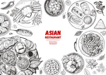 Asian cuisine collection. Hand drawn vector illustration. Food menu design template, engraved elements. Sketch illustration.