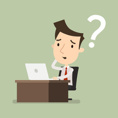 businessman is thinking, Confused, Question mark, looking at the laptop, Business concept, Vector illustration