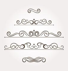 Set of five fancy design elements and page decoration. Vector illustration