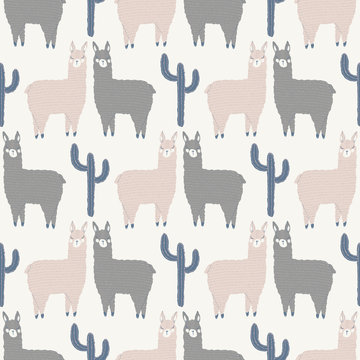 vector llama and cactus seamless repeat background