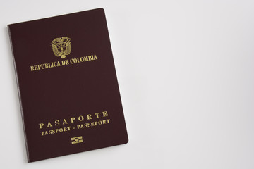 Colombian passport on white background