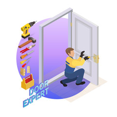 Isometric interior repairs concept. Builder  fixes a door handle