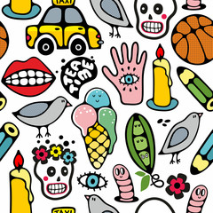 Seamless pattern with funny drawings.