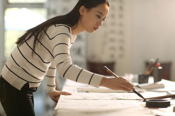 Young women to learn calligraphy