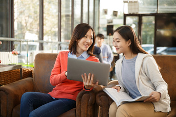 Young women study in coffee shop