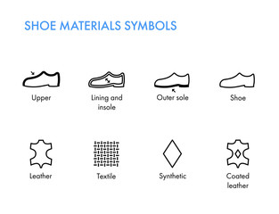 Shoes materials symbols. Footwear labels. Shoes properties glyph. Vector icons