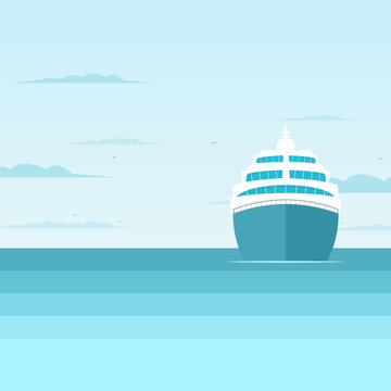 cruise liner in the sea, front view