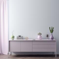 Mock up poster frame in hipster interior background in pink colors, Scandinavian style, 3D render, 3D illustration
