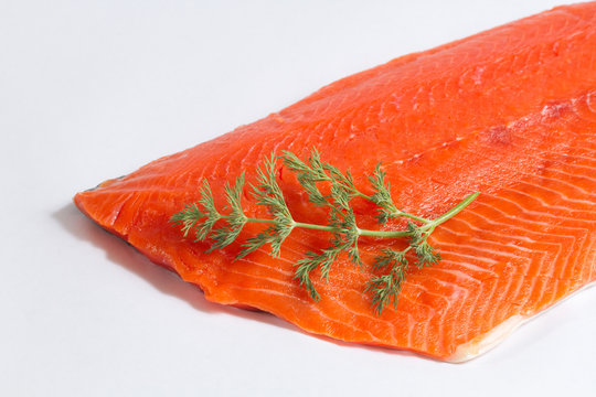 Fresh Salmon Fillet Close Up on White Background with Dill