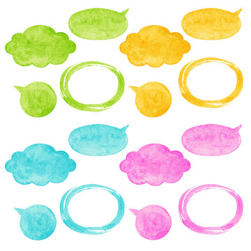 Set, collection of watercolor vector speech bubbles, balloons, clouds and oval brush stroke frames with rough, uneven edges and watercolour stains texture. Pink, yellow, green, blue colors.
