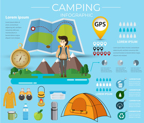 Camping infographic  mountain  road and navigation nature.Data information template Vector illustration.