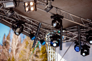 Close-up of lighting equipment for stage concert, searchlight, lamp.