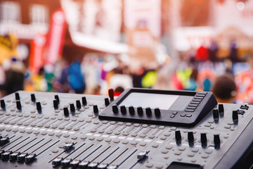 control sound board music mix industry in background concert hall