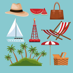 Set of beach elements vector illustration graphic design