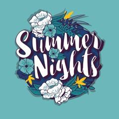 Summer nights typography banner round design in tropical flower frame, vector illustration
