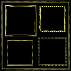 Set of Golden frames of five pieces of different thicknesses, sizes, evenness. Antiques, collections.