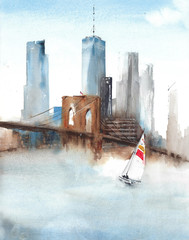 New York City landscape view Brooklyn Bridge One world trade center landmarks travel destination watercolor painting