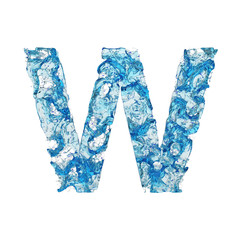 Alphabet letter W uppercase. Liquid font made of blue transparent water. 3D render isolated on white background.