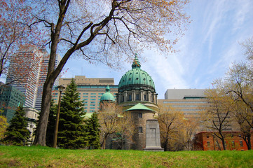 The Cathedral-Basilica of Mary, Queen of the World. (French: Cathedrale Marie-Reine-du-Monde) in Montreal, Quebec, Canada.