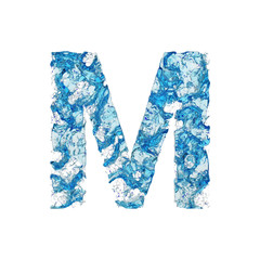 Alphabet letter M uppercase. Liquid font made of blue transparent water. 3D render isolated on white background.